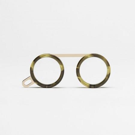 Occhiali da lettura, occhiali al collo, Fassamano Avana Verde fronte